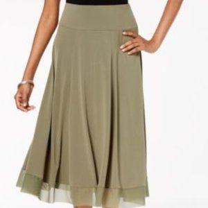 JM Collection Mesh-Hem A-Line Skirt Olive Sprig